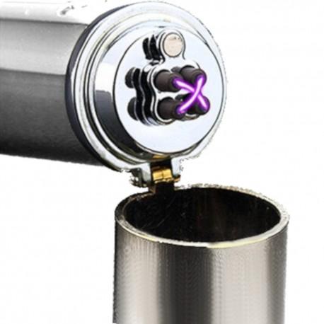 Briquet bi-arc USB spécial cigare et pipe argenté BUR