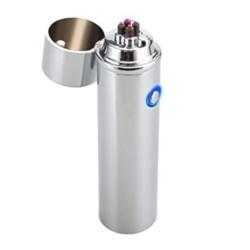 Briquet bi-arc USB spécial cigare et pipe argent mat BUR