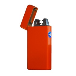 Briquet double arc usb en métal couleur orange BUR